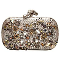 Bottega Veneta Crystal Embellished Knot Clutch Bag