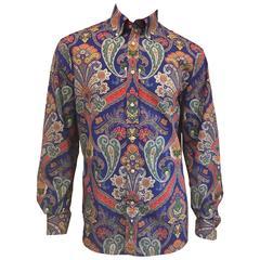 Men's Ralph Lauren Purple Label Paisley Print Polished Cotton Shirt