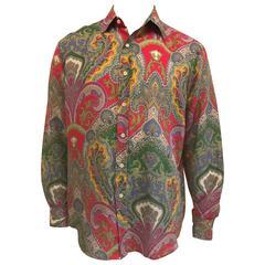 Men's Ralph Lauren Purple Label Linen Shirt in Bold Paisley Print