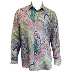 Men's Ralph Lauren Purple Label Silk Shirt in Paisley Print
