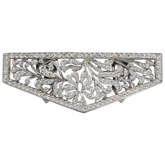 c.1930's Cut Steel Silver Crystal Rhinestone Floral Open Work Dress / Fur Clip