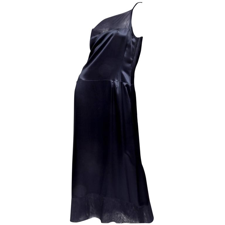Chanel Dark Blue Silk and Tulle Long Dress with Kimono Style Jacket  2