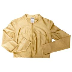 Vintage Chanel Gold Cropped Zip Top - Size 38