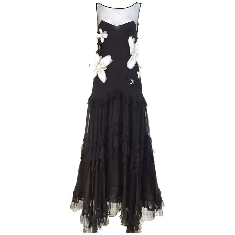 John Galliano black silk gown, 2005, offered by Sielian's Vintage Apparel