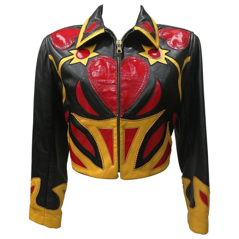 Iconim Museum Piece Moschino Leather Patchwork Jacket