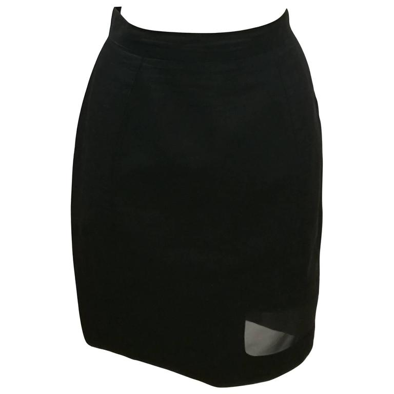 Thierry Mugler Activ Linen Black Skirt with Net For Sale
