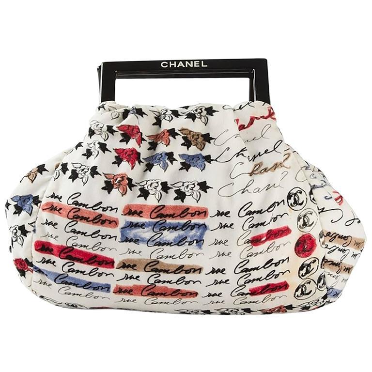 Chanel Velvet Logo Printed Tote Handbag 1