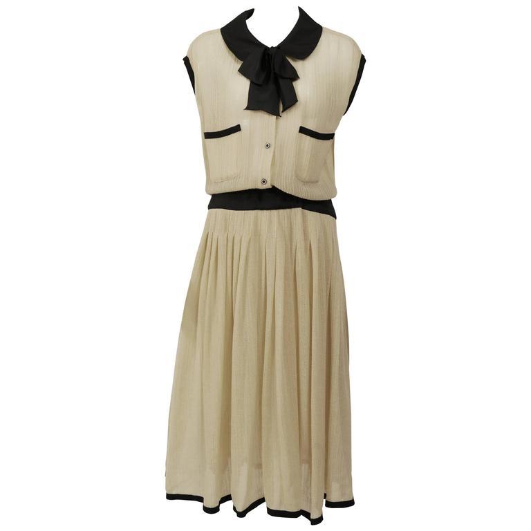 1970s CHANEL Cream Knit Dress 1