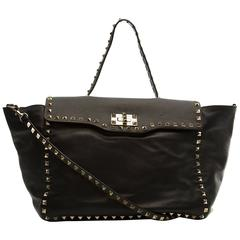 Valentino Black Leather Rockstud Tote Bag