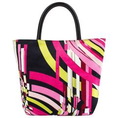 EMILIO PUCCI Multi-Color Signature Geometric Print Corduroy Tote Handbag Purse
