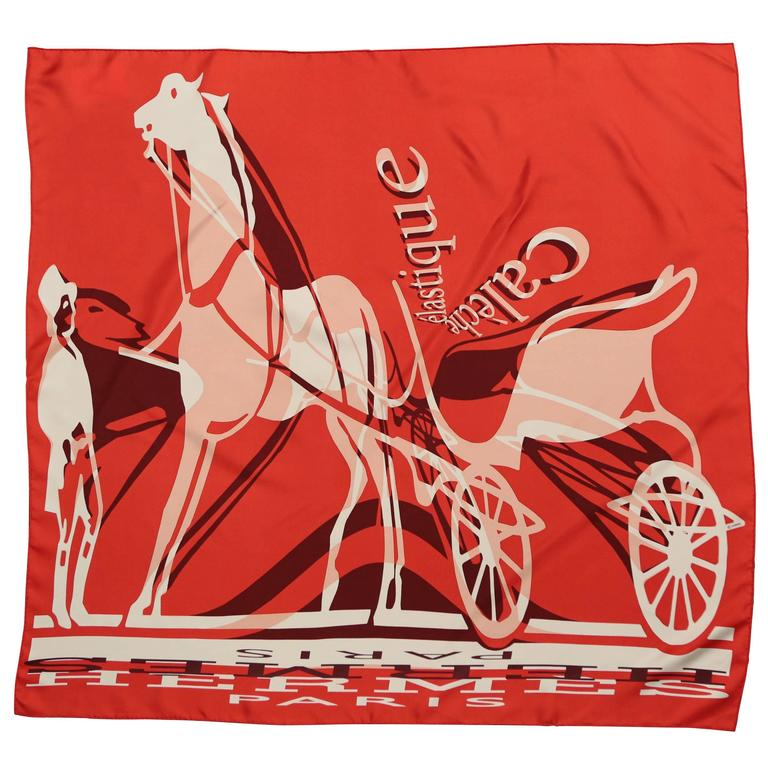 "Hermes ""Caleche Elastique"" Red Silk Scarf With Horses"