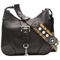Prada Leather and Exotic Skin Cross-Body Bag