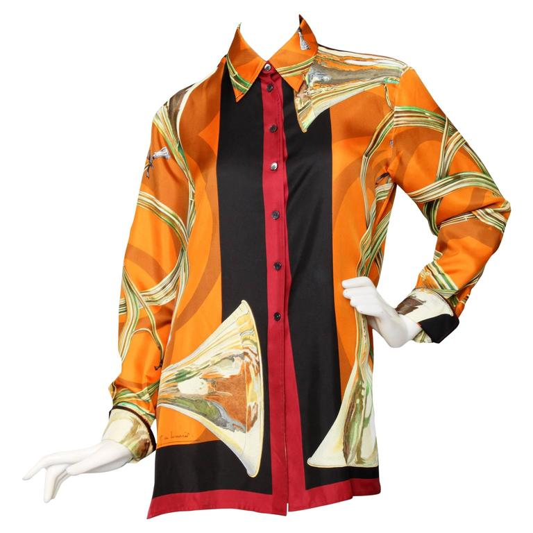 A 1980s Hermes Silk Twill Shirt  For Sale
