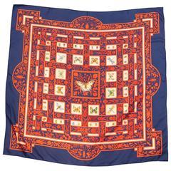 """Hermes """"Joyeaux de l'Ete"""" Silk Scarf With Butterfly Design"""