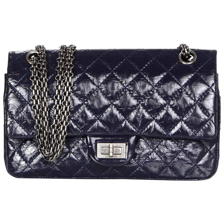 1399fed395d5 Chanel Navy Blue Patent Leather 2.55 225 Reissue Double Flap Classic Bag  For Sale