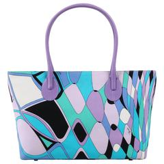 "EMILIO PUCCI Multi Color ""Reflessi"" Signature Print Canvas Handbag Tote Purse"