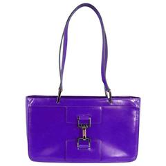 GUCCI Purple Smooth Leather Top Handles Silver Clasp Shoulder Bag