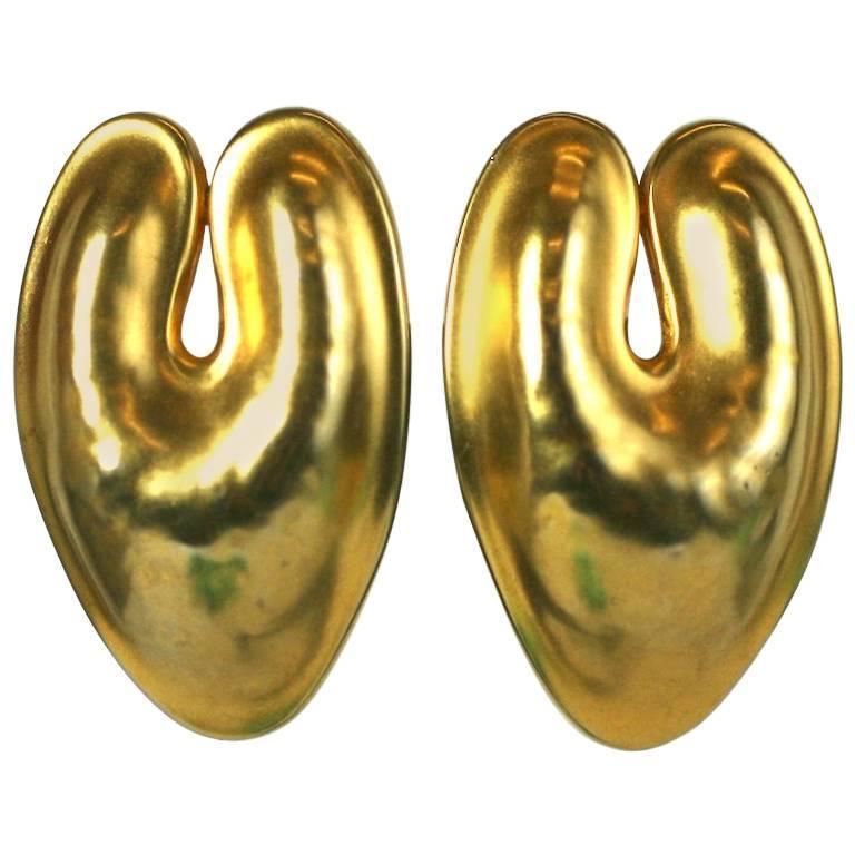 Robert Lee Morris Matte Gold Ear Clips For Sale