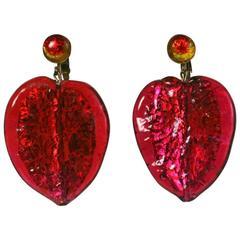 Ruby Murano Leaf Pendant Earrings