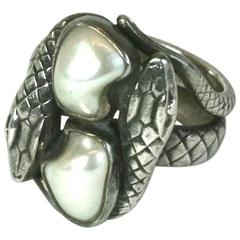 Arts and Crafts Blister Pearl Snake RIng