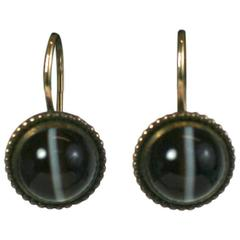 Elegant Victorian Banded Agate Cabochon Earrings