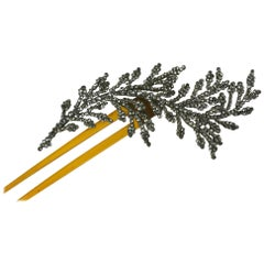 French Cut Steel Feather Hair Comb
