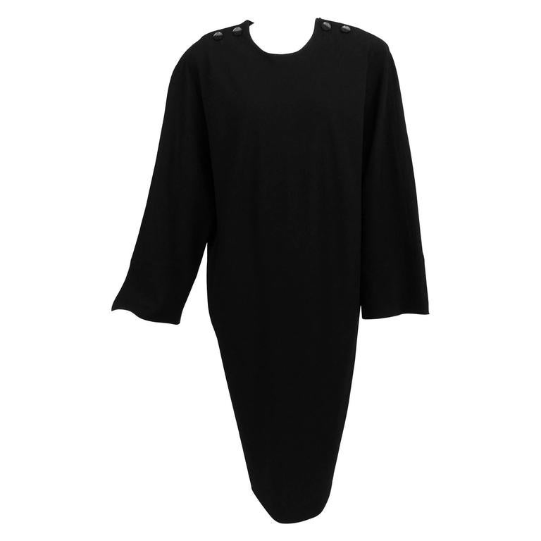 Vintage Jean Muir black wool crepe dolman sleeve dress 1980s For Sale