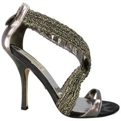 BADGLEY MISCHKA Size 7.5 Metallic Crystal Cross Strap Leather Sandals