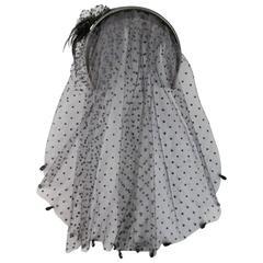 ALEXANDRE de PARIS Black Leather Beaded Feather Flower Spotted Vale Headband