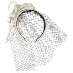 ALEXANDRE de PARIS Cream Silk Embellished Headband With Vale
