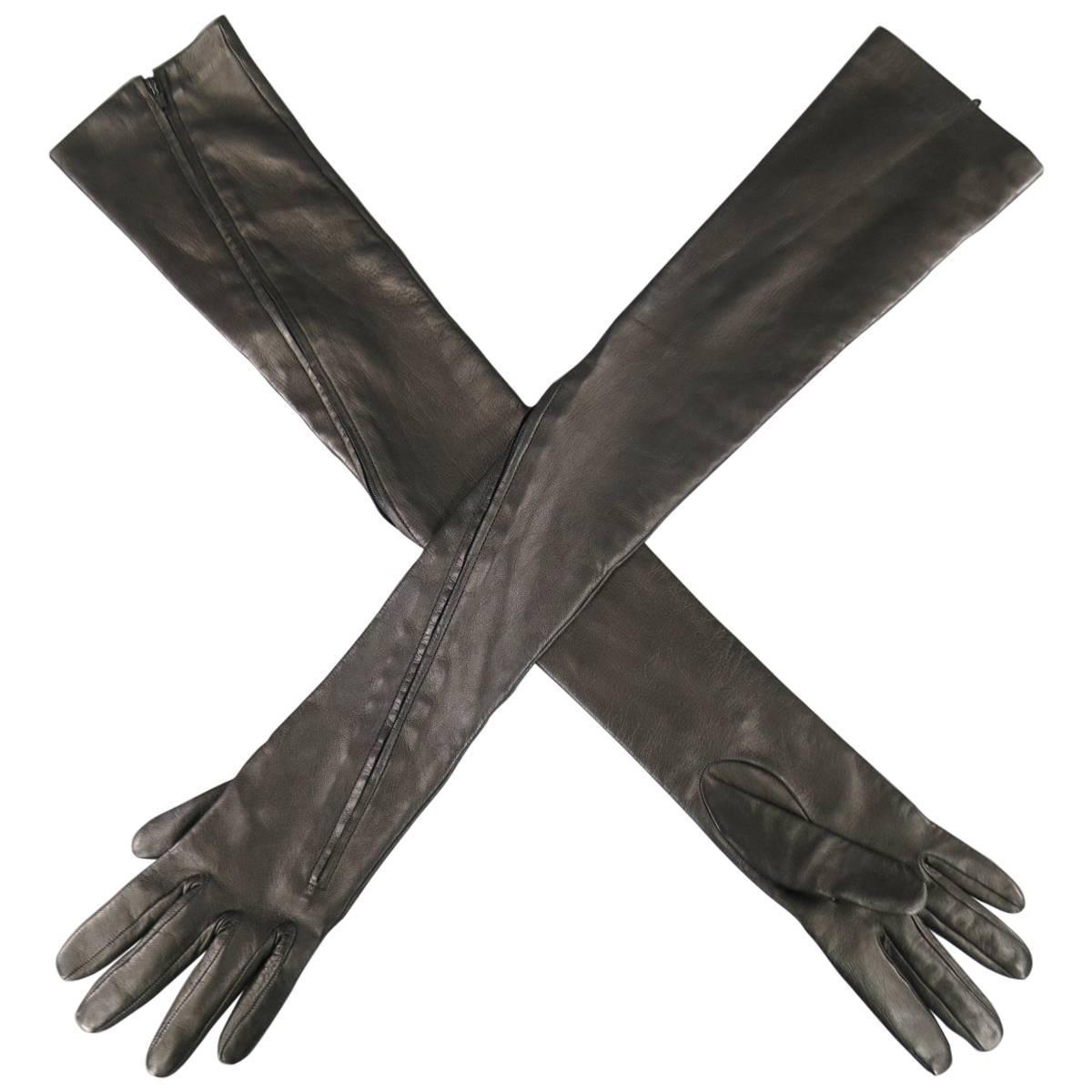 Vintage ladies leather opera gloves - Yohji Yamamoto Black Leather Zip Up Elbow Length Opera Gloves