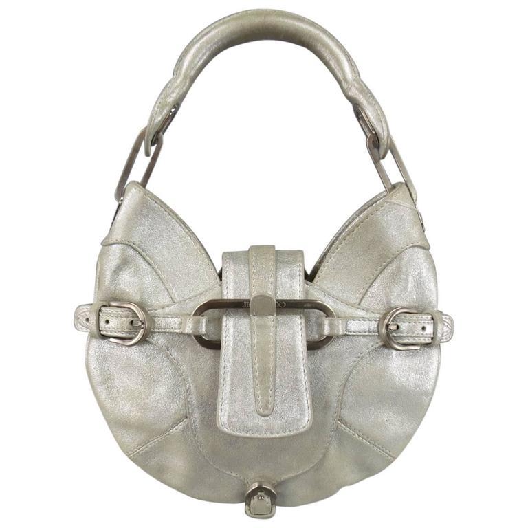 JIMMY CHOO Metallic Silver Leather Mini Tulita Hobo Purse 1