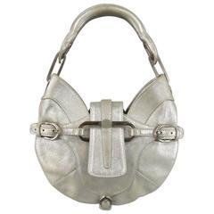 JIMMY CHOO Purse - Handbag - Metallic Silver Leather Mini Tulita Hobo