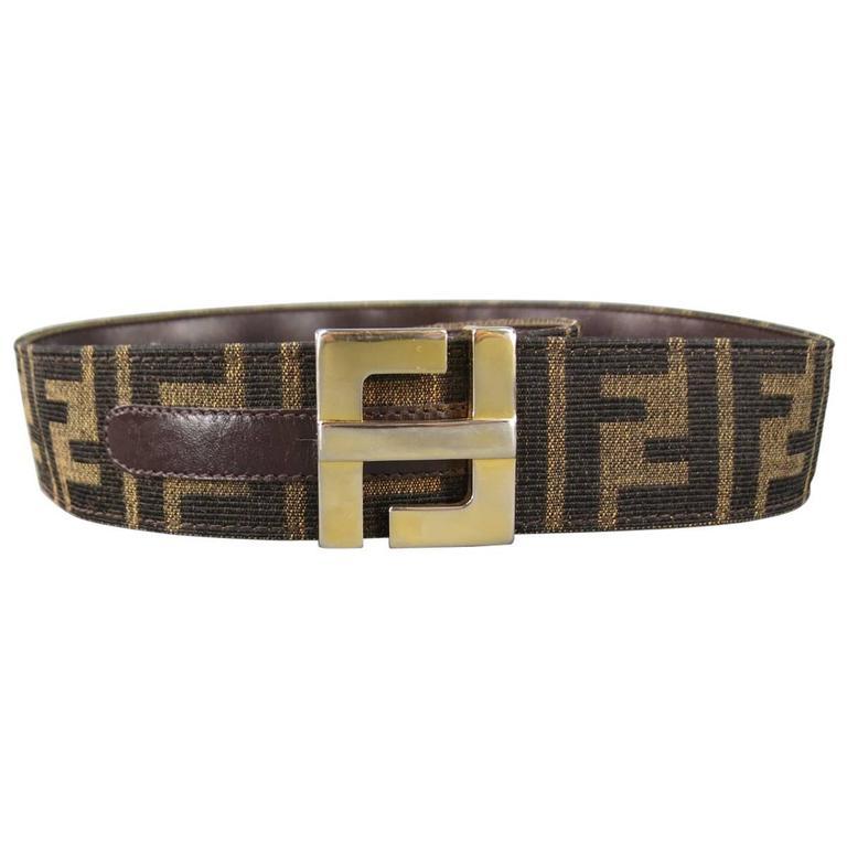 vintage fendi s brown monogram canvas gold buckle belt at