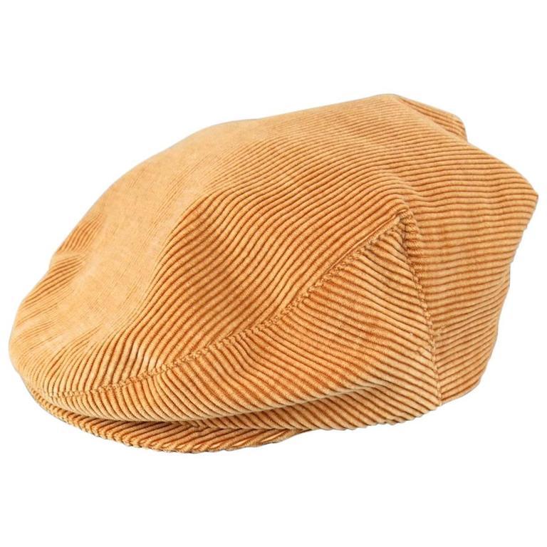Vintage CHANEL Size L Tan Corduroy Page Boy Cap Hat 1