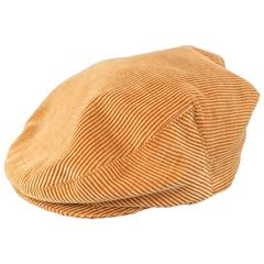 Vintage CHANEL Size L Tan Corduroy Page Boy Cap Hat
