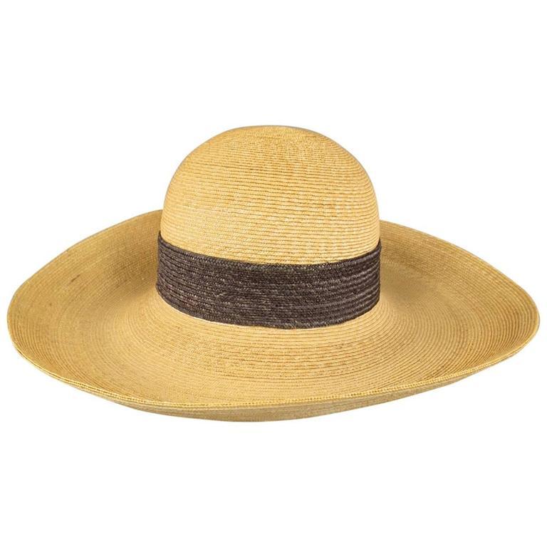 Vintage HERMES Tan and Brown Straw Wide Brm Beach Sun Hat ...
