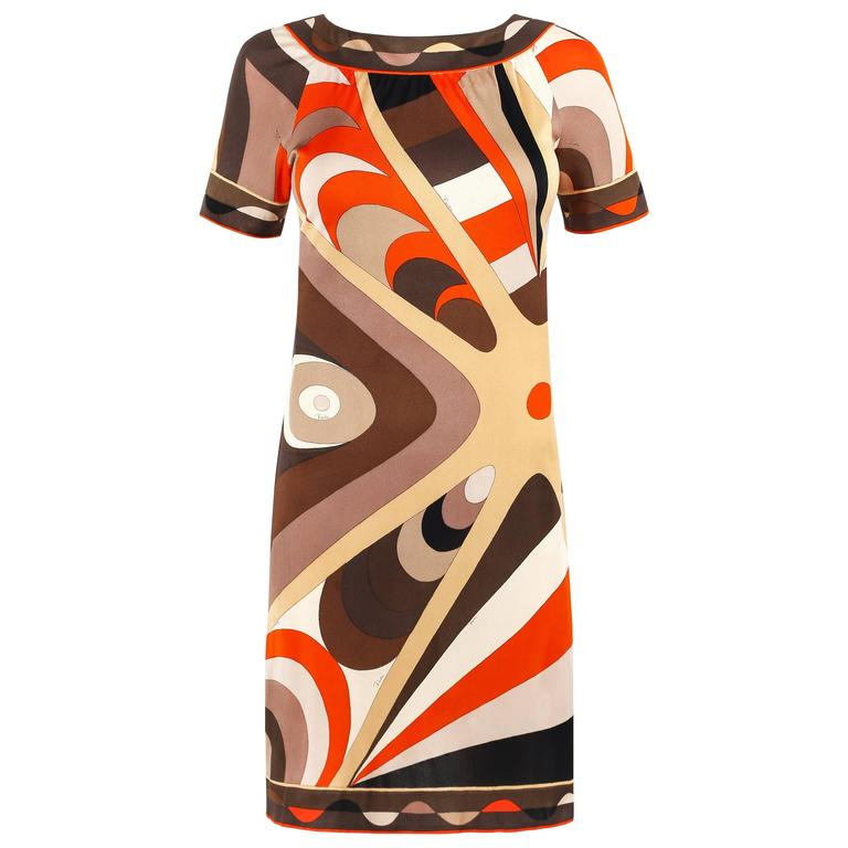 EMILIO PUCCI c.1960's Multicolor Op Art Signature Print Silk Shift Dress