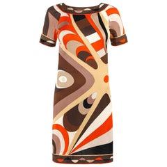 EMILIO PUCCI c.1960's Multicolor Op Art Signature Print Silk Shift Dress