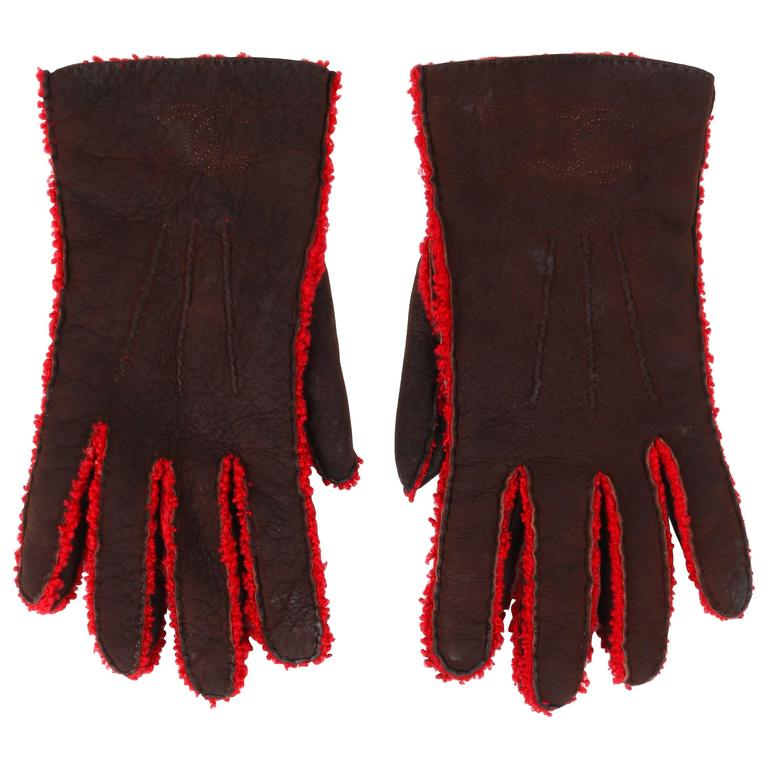 CHANEL Brown Suede Leather Red Boucle Wool Lined Leather Gloves