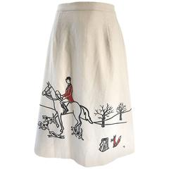 Rare 1970s Vested Gentress Equestrian Fox Hunter Novelty Vintage A - Line Skirt