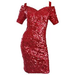 Lillie Rubin 1990s Sexy Vintage Red Sequin Off The Shoulder 90s Bodycon Dress