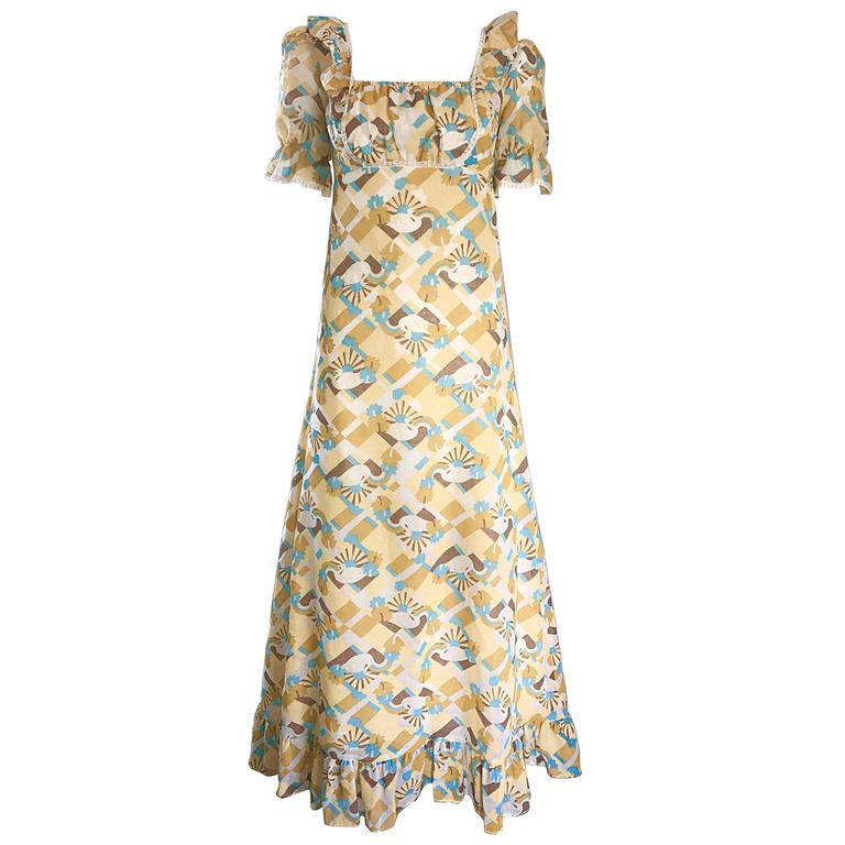 1970s Swan Print Novelty Cotton Boho Vintage 70s Blue and Yellow Maxi Dress