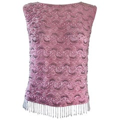Chic 1960s Pink Beaded Sequin Harilela's Hong Kong Sleeveless Silk Vintage Top