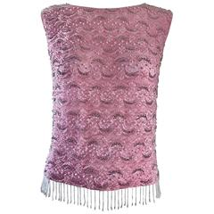 Chic 1950s Pink Beaded Sequin Harilela's Hong Kong Sleeveless Silk Vintage Top