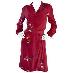 1970s Alan Austin Italian Red Silk Vintage Blouse and Skirt 70s Dress Ensemble
