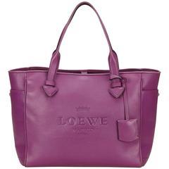 Loewe Purple Leather Tote Bag