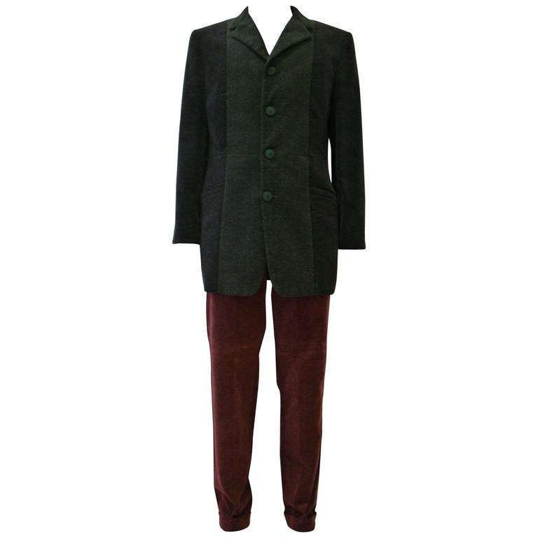 Unique Gianni Versace Couture Velour Côtelé Pants Suit Fall 1997