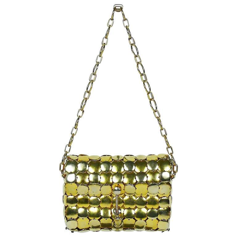 Paco Rabanne Style Vintage 1970s Gold Tone Metal Disc Purse Handbag