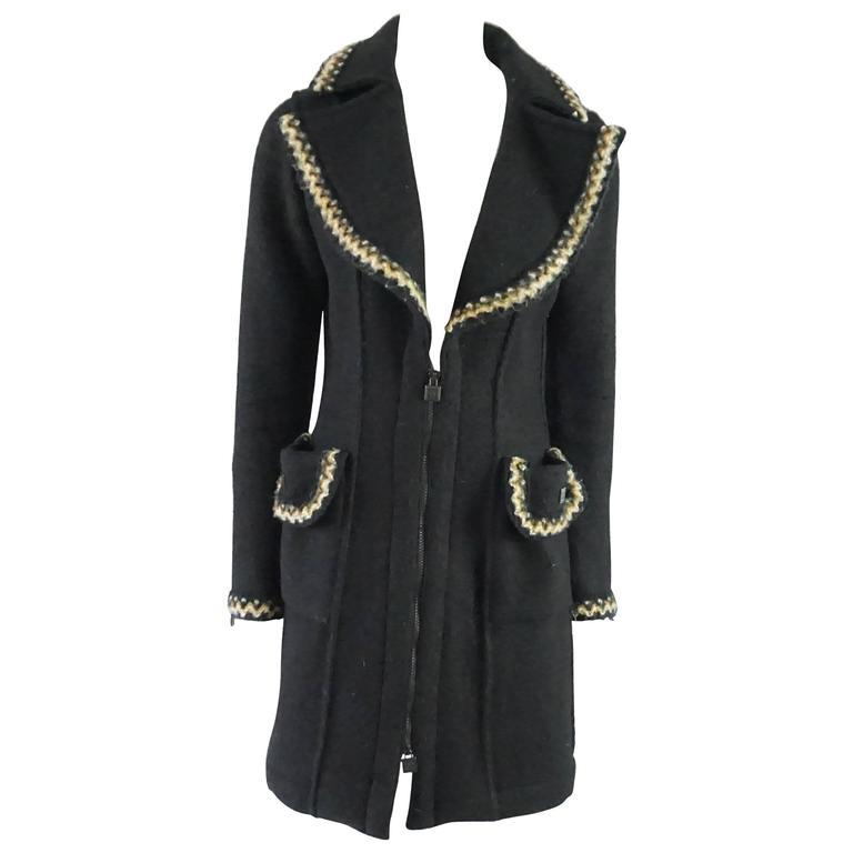 Chanel Black Wool Blend 3/4 Coat with Beige Trim - 36